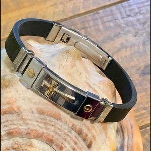 Men's Rubber & Stainless Steel Cross Bracelet